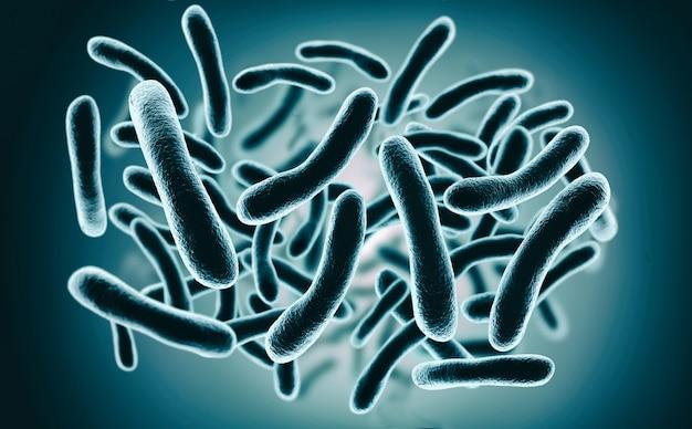 Renderização 3d bactérias closeup