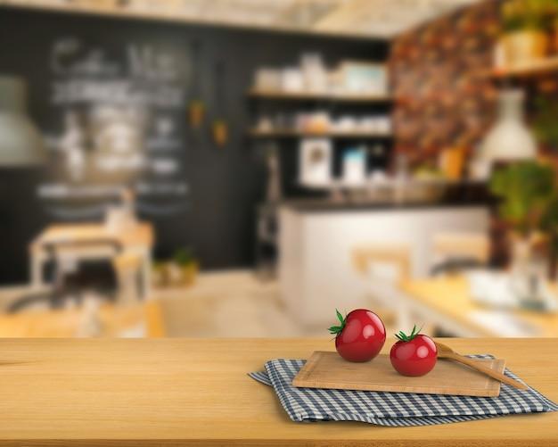 Renderização 3d bancada de madeira com tomate e tábua de cortar no fundo do armário da cozinha