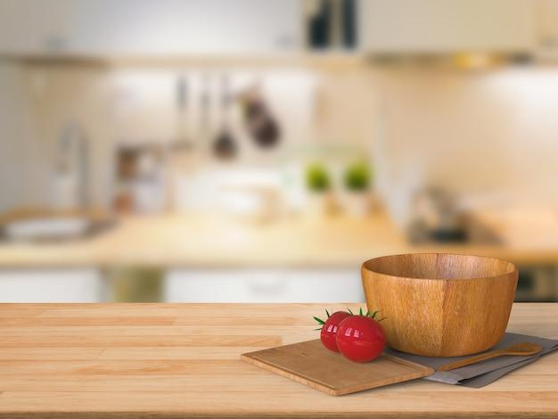 Renderização 3d bancada de madeira com tomate e tigela de madeira na cozinha