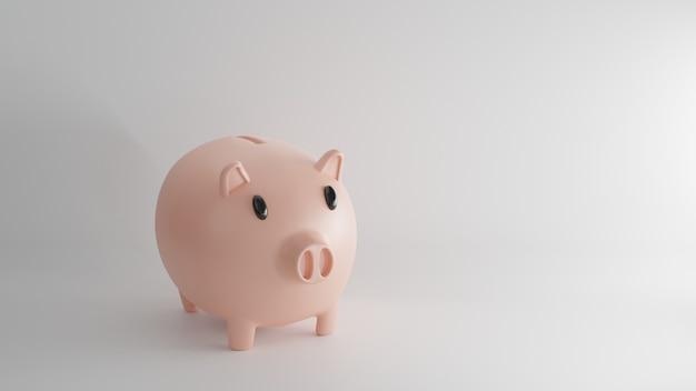 Renderização 3d. banco piggy com moedas. conceito de economia ou dinheiro, investimento no banco.