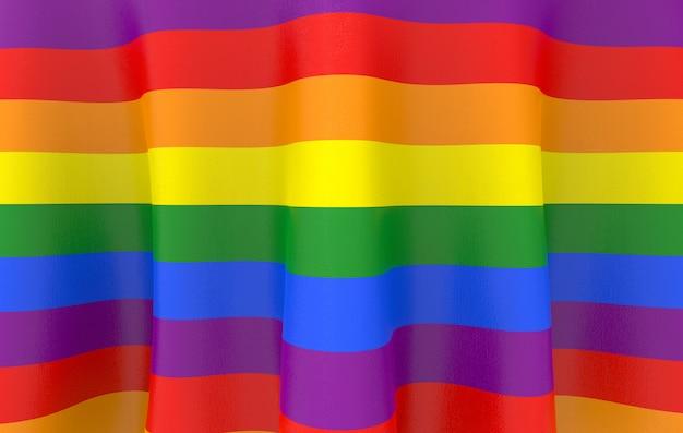 Renderização 3d. bandeira da cor do arco-íris de lgbt