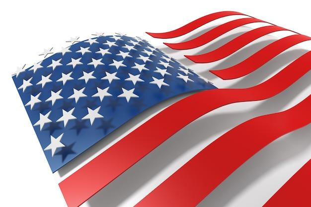 Renderização 3d bandeiras dos estados unidos da américa