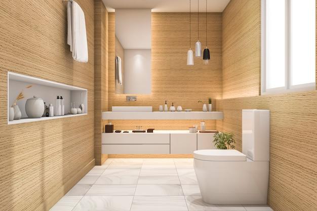 Renderização 3d banheiro espaçoso e bonito, com design de madeira branca