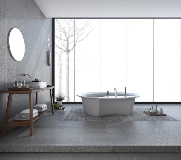 Renderização 3d, banheiro moderno design com bela vista no inverno