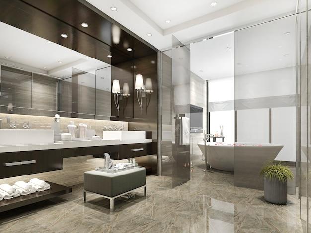 Renderização 3d banheiro moderno e luxuoso e banheiro