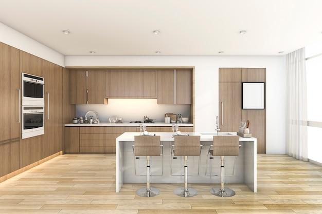 Renderização 3d, bar madeira, cozinha, perto, janela
