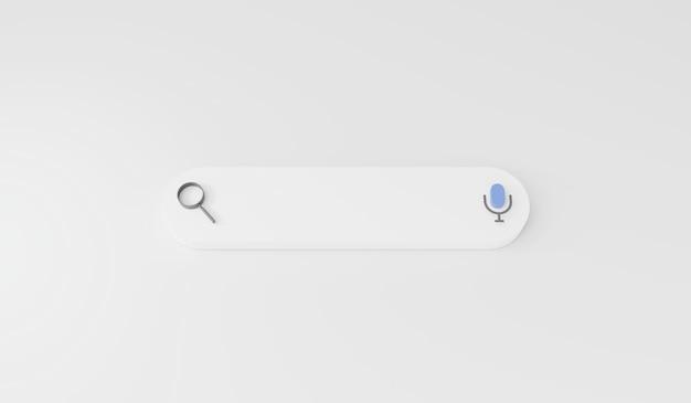 Renderização 3d barra de pesquisa em fundo branco ícone de lupa de pesquisa de tecnologia de mecanismo de pesquisa