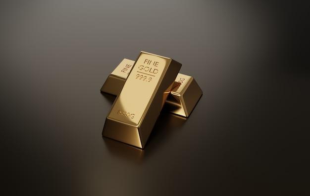 Renderização 3d. barras de ouro. conceitos financeiros