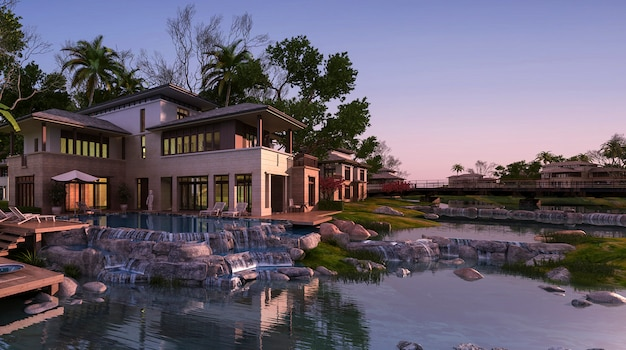 Renderização 3d bela casa contemporânea perto de resort e rio ao pôr do sol
