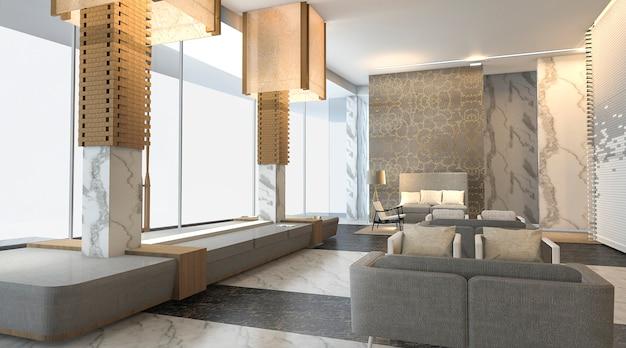 Renderização 3d bela e átrio de hotel de luxo com textura de parede agradável