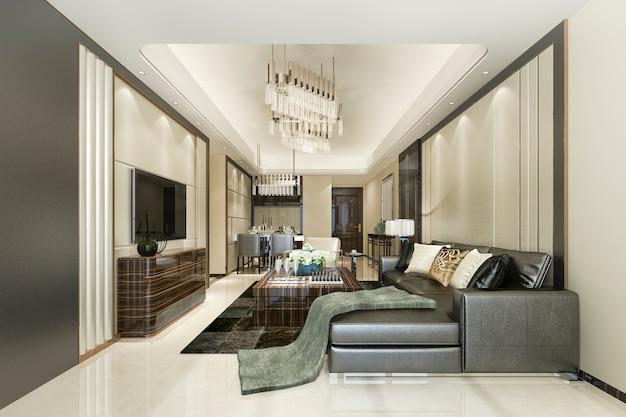 Renderização 3d bela moderna sala de jantar e sala de estar com decoração de luxo