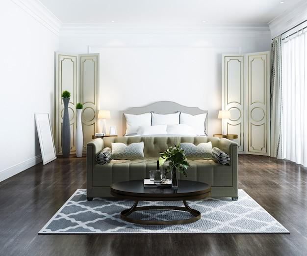 Renderização 3d bela suíte de luxo quarto clássico no hotel com tv
