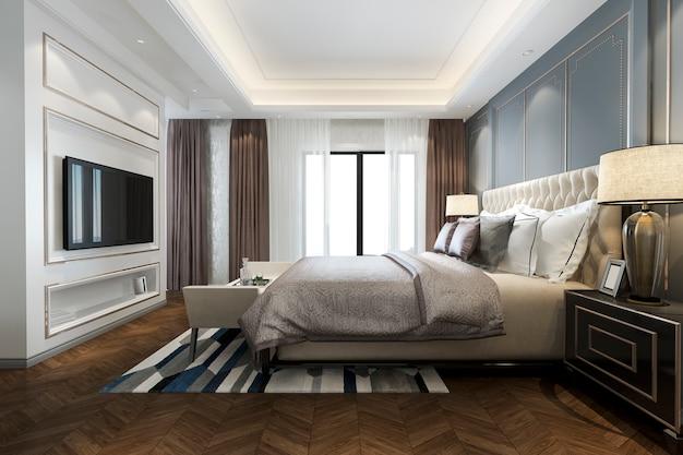 Renderização 3d bela suíte de quarto de luxo clássico no hotel com tv