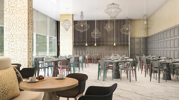 Renderização 3d bela vista do restaurante do hotel de luxo