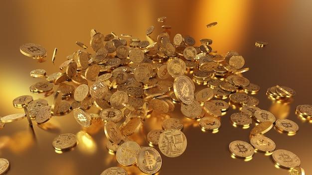 Renderização 3d bitcoins caindo em uma pilha