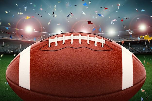 Renderização 3d bola de futebol americano com luz brilhante e fundo de confete