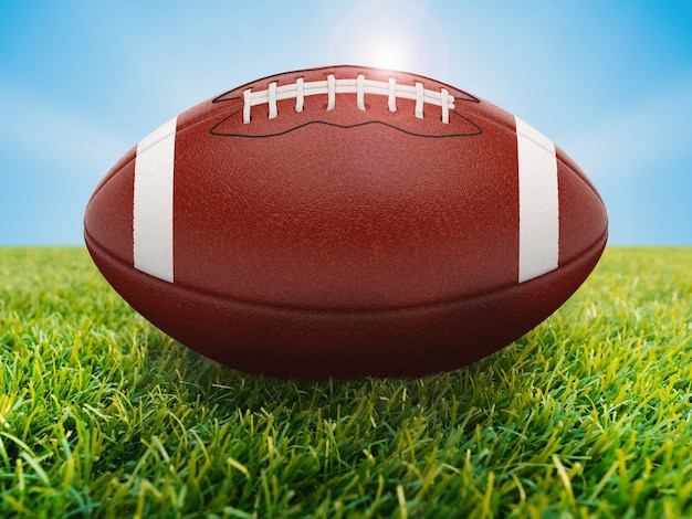 Renderização 3d bola de futebol americano em campo verde com céu azul