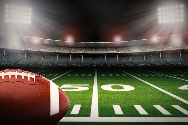 Renderização 3d bola de futebol americano em campo verde