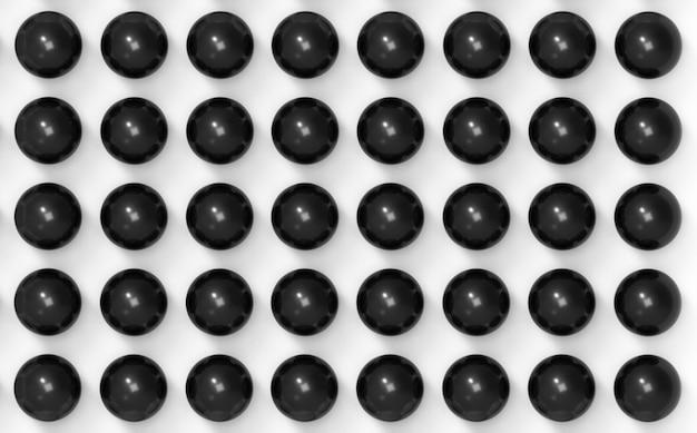 Renderização 3d. bola esfera preta sobre fundo de parede branca.