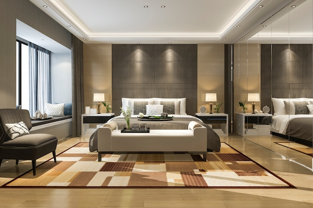 Renderização 3d, bonito, luxo, quarto suite, em, hotel, com, espelho, guarda-roupa