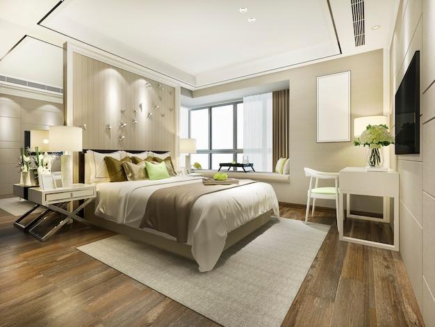 Renderização 3d, bonito, luxo, quarto suíte, em, hotel, com, tv