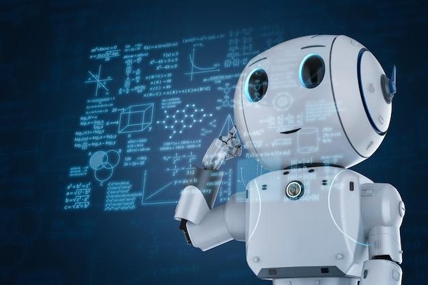 Renderização 3d bonito robô de inteligência artificial aprendendo com interface hud