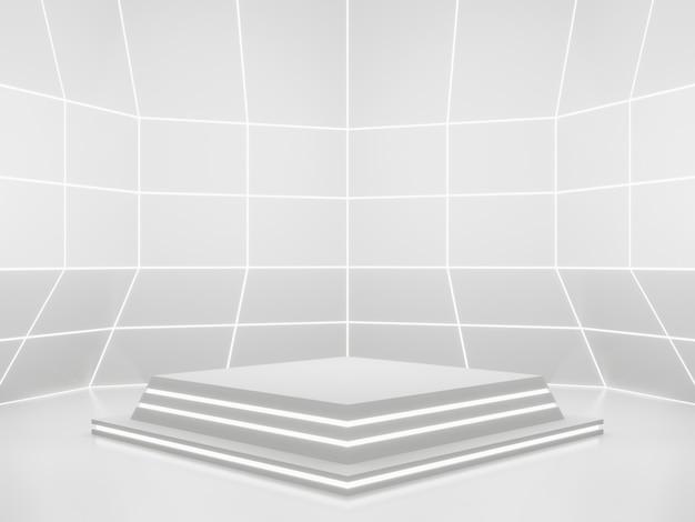 Renderização 3d branca de produto de ficção científica com maquete de pódio científico com luzes de néon brancas
