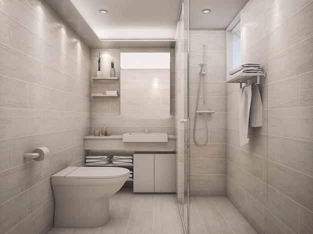 Renderização 3d branco banheiro limpo