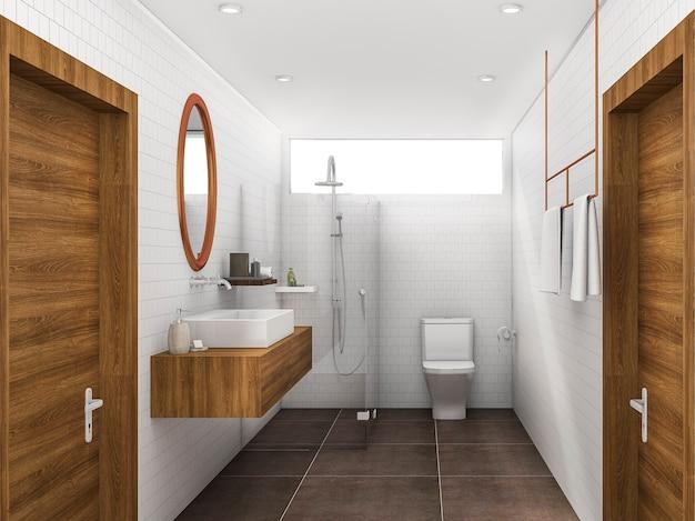 Renderização 3d, bronze, e, madeira, estilo, banheiro banheiro