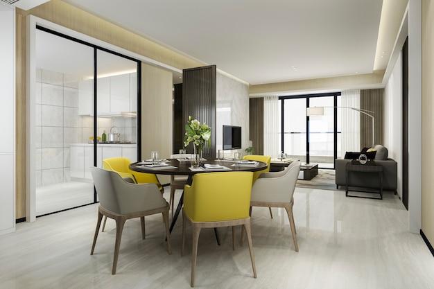 Renderização 3d cadeira amarela e cozinha de luxo com mesa de jantar e sala de estar