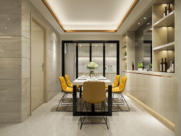 Renderização 3d cadeira amarela e cozinha de luxo com mesa de jantar