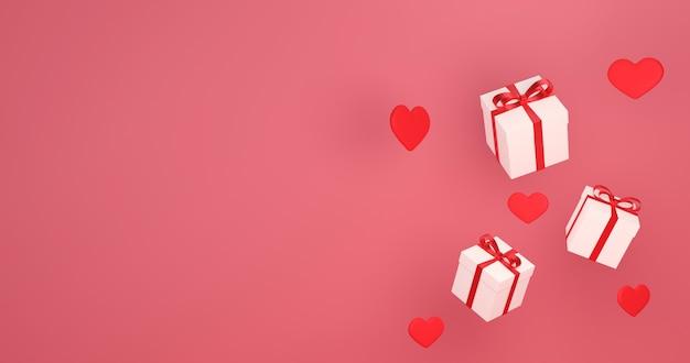 Renderização 3d caindo caixa de presente, amor e dia dos namorados celebram,
