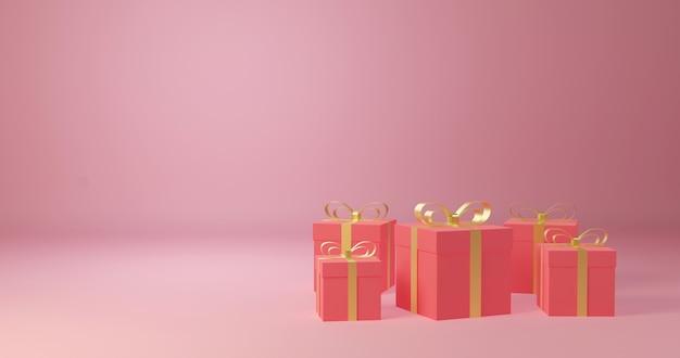 Renderização 3d caixa de presente decorativa, comemoração do amor e dia dos namorados,