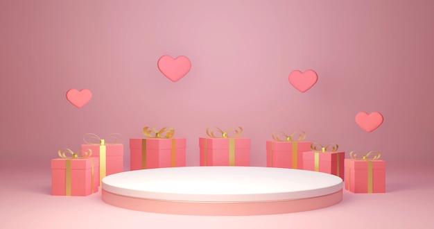 Renderização 3d caixa de presente decorativa em torno do estande de produtos, comemoração do amor e do dia dos namorados,