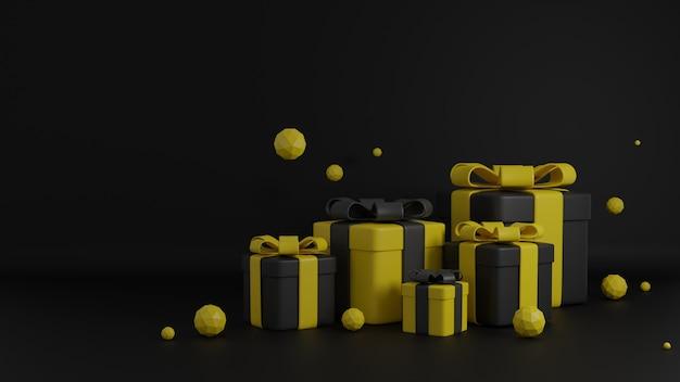 Renderização 3d caixa de presente preta e amarela para sexta-feira negra, natal, feliz ano novo, feliz aniversário.