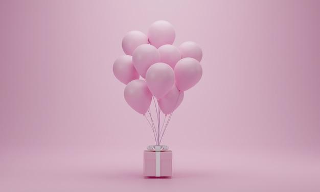 Renderização 3d. caixa de presente rosa com balões em fundo pastel com espaço de cópia. conceito mínimo para feliz mulher, mãe, dia dos namorados, aniversário.
