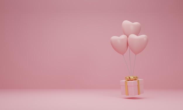 Renderização 3d. caixa de presente rosa com fita dourada e coração de balão em fundo rosa pastel. conceito mínimo.