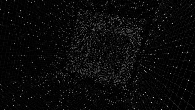 Renderização 3d caixa luminosa wifram cubo