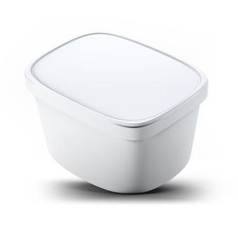 Renderização 3d caixa plástica branca de recipiente de sorvete para seu projeto e logotipo mock up. adequado para o seu elemento de design.