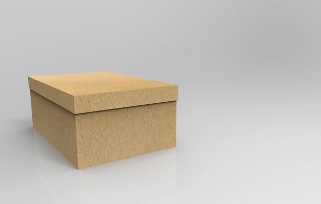 Renderização 3d. caixa vazia de papel pardo