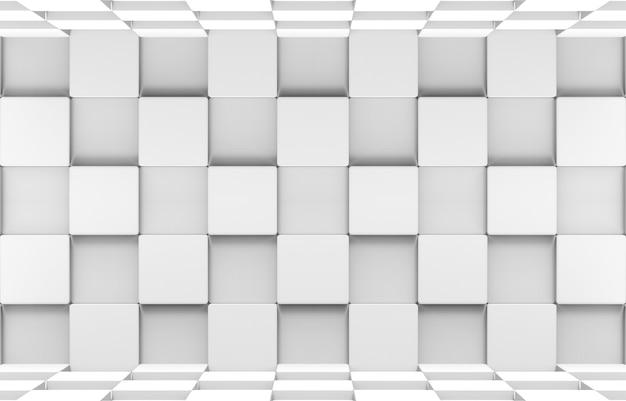 Renderização 3d. caixas futuristas de cubos redondos quadrados brancos empilham a parede e o fundo da arte do design do chão