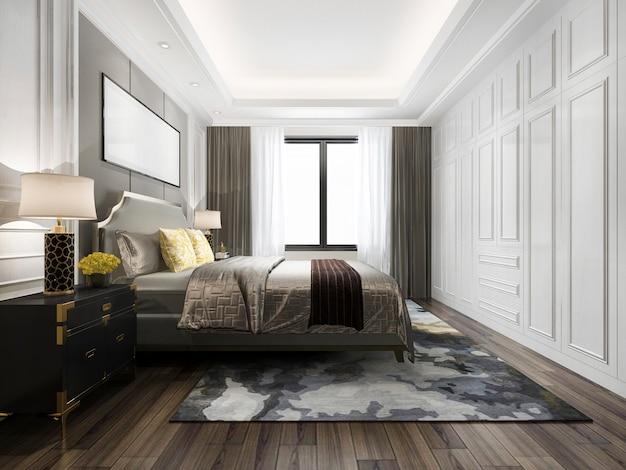Renderização 3d cama de luxo no quarto clássico branco