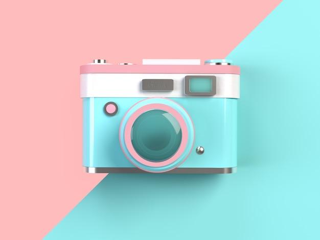Renderização 3d - câmera pastel mínima em fundo rosa e turquesa