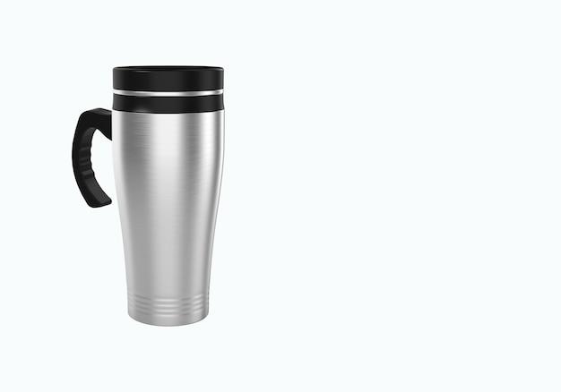 Renderização 3d caneca de viagem de aço inoxidável para café ou chá isolado no fundo branco. adequado para o seu projeto de elemento de simulação. Foto Premium