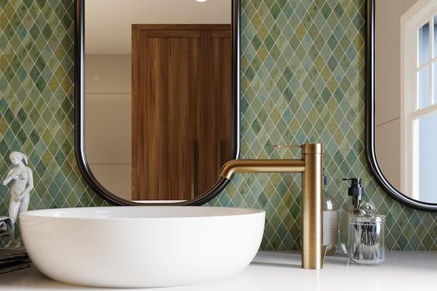 Renderização 3d. canto do banheiro do hotel com paredes de azulejos verdes, espelho grande e pia branca. estilo classico. renderização 3d