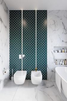 Renderização 3d. canto do banheiro do hotel com paredes de azulejos verdes. estilo classico.
