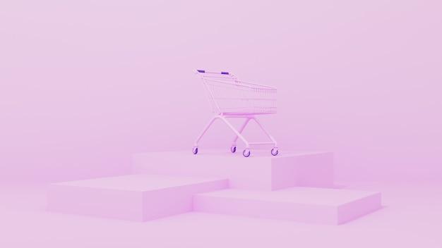 Renderização 3d. carrinho de supermercado rosa em uma parede rosa. conceito de aquisição