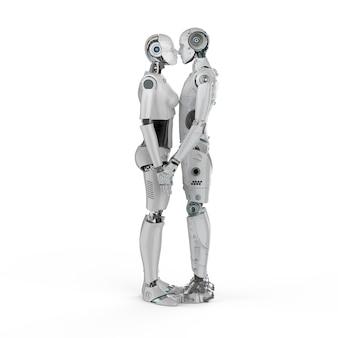 Renderização 3d casal ciborgues beijo masculino e feminino