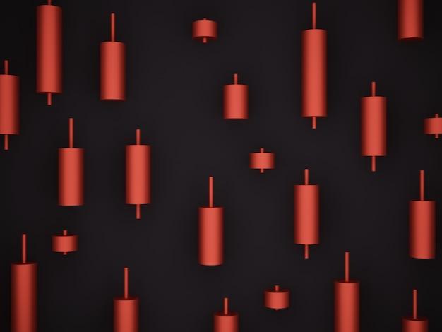 Renderização 3d. castiçal vermelho de estoque. sinal de venda.