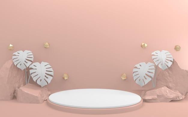 Renderização 3d cena de produto de design mínimo do pódio rosa dos namorados